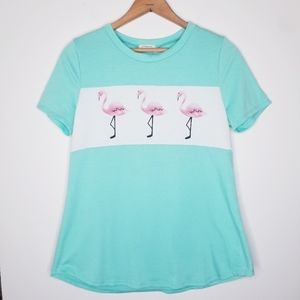 12PM by Mon Ami Flamingo Mint Green Tee Size M